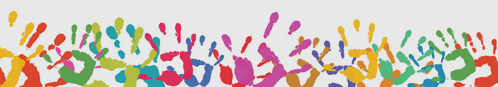 Background with many different colorful hand prints